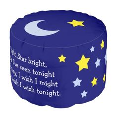 Shop Star Light Star Bright Pouf created by AvenueCentral. Kids Nursery Rhymes, Dark Blue Background, Pouf Ottoman, Large Furniture, Dog Bowtie, Baby Shower Invitations, Cool Kids, Baby Shower Gifts, Party Supplies