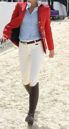 Blue Oxford, White Pants, Brown Boots, Red Jacket