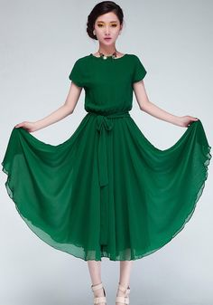 Green Plain Short Sleeve Wrap Chiffon Maxi Dress - Maxi Dresses - Dresses