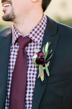 burgundy gingham grooms look | Morning Light by Michelle Landreau