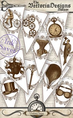 Printable Steampunk Banner eco Bunting party banner save ink instant download digital collage sheet VDBAST0999