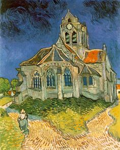 "L'église d'Auvers-sur-Oise (The Church at Auvers-sur-Oise) by Vincent Van Gogh 1890 Kb); Oil on canvas, 94 x 74 cm x 29 in); Musee d'Orsay, Paris. For Mark Turner's post ""Meeting Vincent Van Gogh Vincent Van Gogh, Art Van, Desenhos Van Gogh, Van Gogh Arte, Theo Van Gogh, Van Gogh Pinturas, Van Gogh Paintings, Artwork Paintings, Impressionist"
