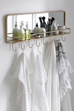 Fine hooks with both shelf and mirror create a cozy atmosphere in the bathroom. Small Bathroom Storage, Bathroom Organization, Bathroom Hooks, Master Bathroom, Toliet Paper Holder, Teen Bath, Flat Ideas, Vintage Bathrooms, Relaxing Bath