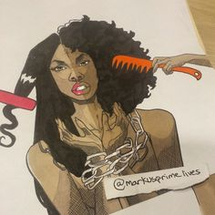 Artist: Markus Prime I chose this image because I like how they show two sides of a person kind of reminds me of myself when I straighten my hair vs my curly hair Black Girl Art, Black Women Art, Art Girl, Natural Hair Art, Pelo Natural, Black Artwork, A Level Art, Afro Art, My Black Is Beautiful