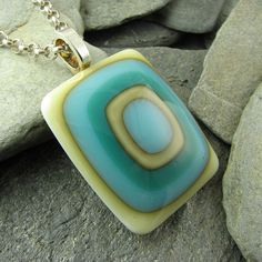 Ivory Turquoise & Teal Fused Glass Pendant by LindsaysDesigns, $28.00
