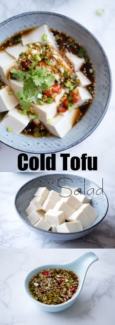 Chinese style cold tofu salad with soy sauce dressing.