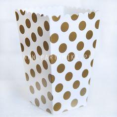 pudełko na popcorn złote groszki