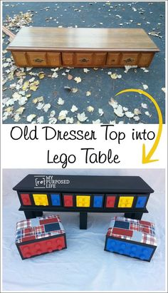 How to make a DIY Lego Table out of an old dresser. Perfect height for the kiddos with tons of storage for their lego pieces.