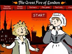 Screenshot the Museum of London Great Fire of London 1666 game with a cartoon look boy and female servant standing in front of the Thames River and a burning skyline