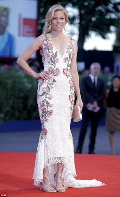 Elizabeth Banks stuns in plunging floral frockat Venice Film Festival #dailymail