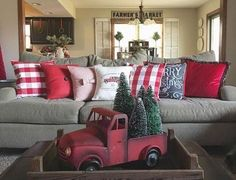 Farmhouse Christmas Decorations - Rustic Christmas Decor Ideas that Brings Back The Traditional Festive Vibe In Your Home Plaid Christmas, Christmas Holidays, Christmas Vacation, Christmas Lights, Red Christmas Trees, Christmas Truck With Tree, Cabin Christmas, Christmas Pillow, Merry Christmas