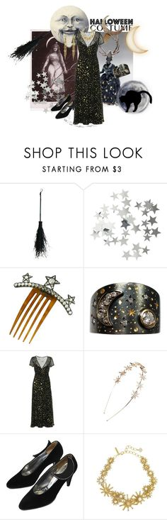 """Halloween Night Sky/Star Costume"" by cocodobard ❤ liked on Polyvore featuring H&M, Vicente Gracia, RED Valentino, Tasha, Oscar de la Renta and vintage"