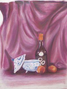 Bouteille, soupière 2007 Tableau Peinture pastel