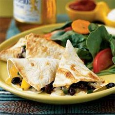 Poblano, Mango, and Black Bean Quesadillas Recipe