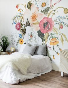 Awesome Floral Bedroom Design Ideas With Wallpaper Theme Decor, Wall Wallpaper, Accent Wall Bedroom, Interior, Bedroom Murals, Wall Murals, House Interior, Floral Bedroom, Cool Walls