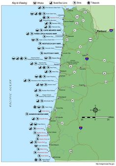 Simple Oregon Coast map with towns and cities. | Oregon Coast in