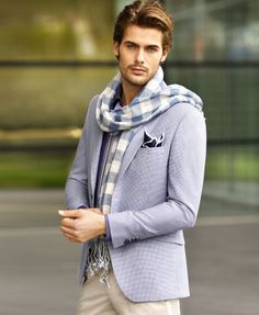 I like the jacket and the pants but not to sure about the scarf. My man is not a scarf kinda guy.