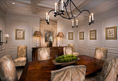 Dining Room. Traditional Dining Room Ideas. Traditional Dining Room with coffered ceiling and floor to ceiling wainscotting. #DiningRoom #Di...