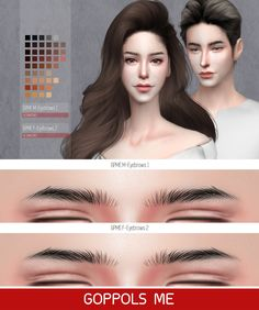 "goppolsme: "" GPME M-Eyebrows 1 45 Swatches : Download GPME F-Eyebrows 2 45 Swatches : Download Thanks for all CC creators ❤ Thank for support me ❤ Hope you like it . """