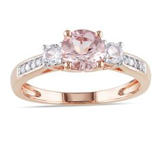 Miadora 10k Rose Gold Morganite, White Sapphire and Diamond Three-Stone Ring | Overstock.com Shopping - Top Rated Miadora Gemstone Rings