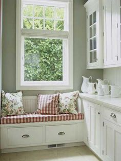 Window Seat Ideas Add a soft touch to a storage area off the kitchen with an upholstered cushion on a bench. A window seat is a great way to add a punch of color to a mostly white space. West end of kitchen with cabinets all the way down. Window Seat Kitchen, Window Benches, Kitchen Corner, Country Kitchen, Home Kitchens, Modern Furniture, Furniture Design, Kitchen Decor, Kitchen Interior