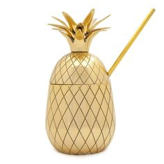Large+Brass+Pineapple+Tumbler+with+Straw+|+500ml+|+Gold+by+The+Pineapple+Co+by+W&P+Design+on+POP.COM.AU