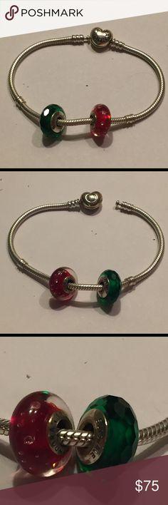 Pandora 7.5in bracelet with charms Pandora like new bracelet with 2 pandora charms Pandora Jewelry Bracelets