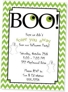 BOO Halloween Party Invitation by MyPaperGardenLLC on Etsy, $1.10