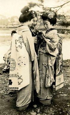 """Three Maiko Girls with a Camera"", Japan c. 1920s"