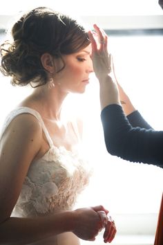 @Emmy Huntromantic wedding up do, updo, hairstyle from The Frosted Petticoat: Detail Spotlight - The Gown