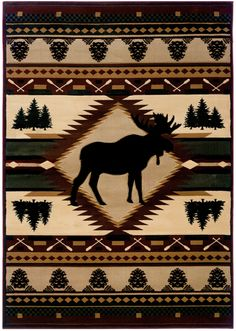 United Weavers of America Designer Contours Moose Wilderness Multi Area Rug, Brown