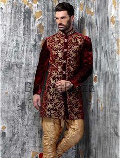 Indian Party Wear Afghani Traditional Pakistani Wedding Indo Western Sherwani #BharatPlaza #DesignerIndoWestern