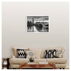 Art.com The House of Parliament and Westminster Bridge by Grant Rooney - Framed Art Print, Soho White