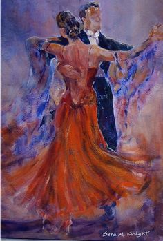 Ballroom Dancers - Gallery of Dance Paintings by Woking Surrey Artist Sera Knight - Ballet & Dance Gallery of Art - Paintings by Surrey Artist Sera Knight - Horsell, Woking Surrey England. Art in Watercolour, Acrylic, Mixed Media. - Strictly Come Dancing