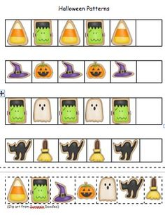 Halloween Patterns(Pocket Chart Set Included) - Kudos 4 Kindergarten - TeachersPayTeachers.com
