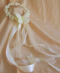 Flower girl flower wreath ribbons and butterfly. starting at $45