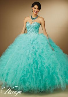 Quinceanera Dress 89055 Embroidery and Beading on Ruffled Tulle with Feathers