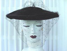 Vtg 40s 50s Black Velvet Veiled Saucer Hat Veil