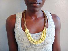 Dreamy Yellow Statement Necklace by BeautifulUganda on Etsy, $30.00