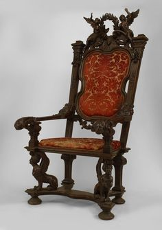 French Empire seating chair/throne chair walnut