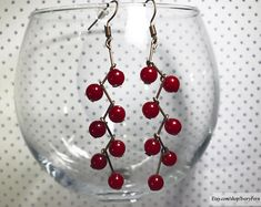 DETAILS ░ Grapes earrings, red earrings, berries earrings, branches earrings, cluster earrings, beads earrings, dangling earrings, ethnic earrings, floral earrings, red berries earrings ░ Red beads: 5 mm x 5 mm ░ Copper color wire closure  !!! The product does not contain precious metals.