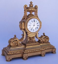 A Large Impressive and Palatial French 19th Century Gilt-Bronze Overmantel Clock by Lemerle-Charpentier Bronzier, 8, Rue Charlot, Paris. Circa: Paris, 1880