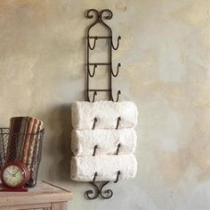 DIY Wine Rack = Towel Hanger for Bathroom - Click image to find more DIY & Crafts Pinterest pins