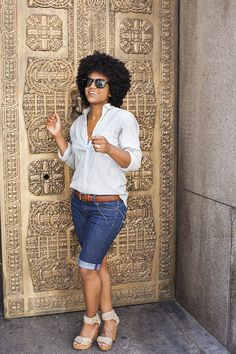 The Tiny Closet: casual yet chic summer look with button down top, bermuda shorts and wedges.