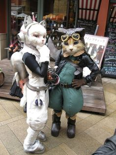 space cat and pilot. I don't' know what these are from, but they are so weird/ cute