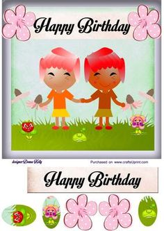 twin birthday card front on Craftsuprint designed by Donna Kelly - cheerful female twin birthday card, approx. 7x7, includes one tag, and decoupage - Now available for download!