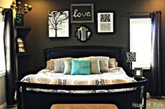 Master Bedroom Wall Makeover. Love the art and the single curtain.