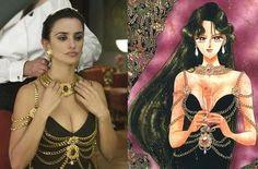 "The same Chanel dress on actress Penelope Cruz in 2009 film ""Broken Embrace"" & artwork of Setsuna Meioh (Sailor Pluto) from Naoko Takeuchi's ""Sailor Moon"" series."