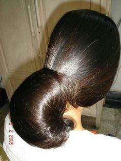 Bun Hairstyles For Long Hair, Indian Hairstyles, Nose Makeup, Gypsy Hair, Long Indian Hair, Beautiful Buns, Big Bun, Long Dark Hair, Pony Tails