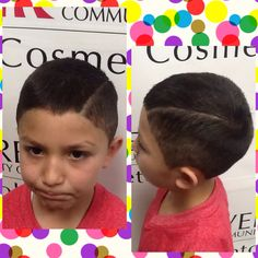 Haircut I did on 4/4/16 I used a # 1 guard on the bottom to a medium fade, # 4 on the top then I used the # 1 guard to blend the bottom and top then added a natural looking hard part. #kidhaircut